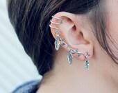 Silver Tree Branch Leaf Ear Cuff Earring