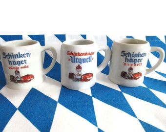 Set of 3 pieces Cute little Schinkenhäger Gin Mugs Ceramic Mugs from Bavaria made in Germany