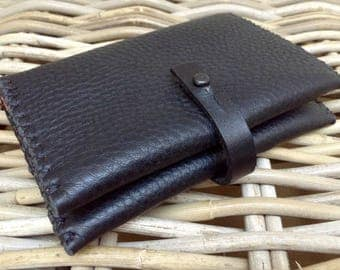 Hand stitched in UK 2-colour black thick soft leather ladies wallet money purse with red dividers and black zig zag stitch