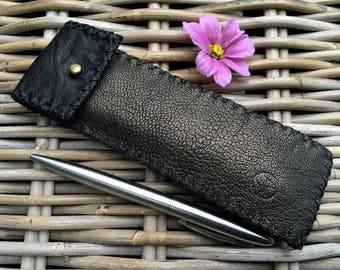 Handmade in UK Artisan 2-colour Golden brown and black soft leather pen holder pen case