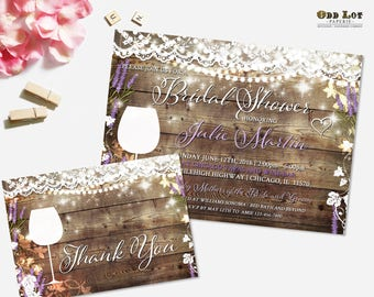 Rustic Bridal Shower Invitation Vineyard Wedding Shower Invite Wine Tasting Lavender and Lace Winery Wedding Wine Themed Printable Floral