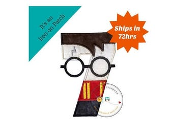 ON SALE NOW Boy Wizard birthday number 7 inspired by Harry Potter machine embroidered fabric iron on no sew patch,  Barn yard patch for kids