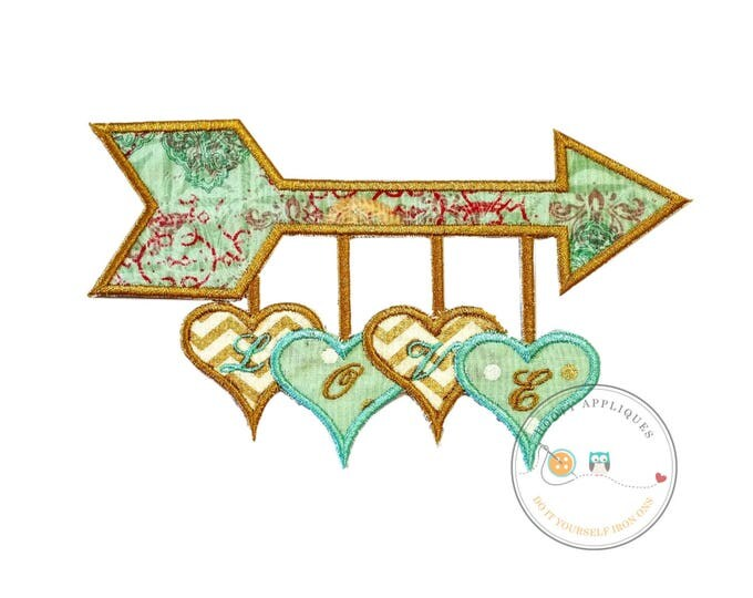 Teal arrow and heart embroidered iron on patch