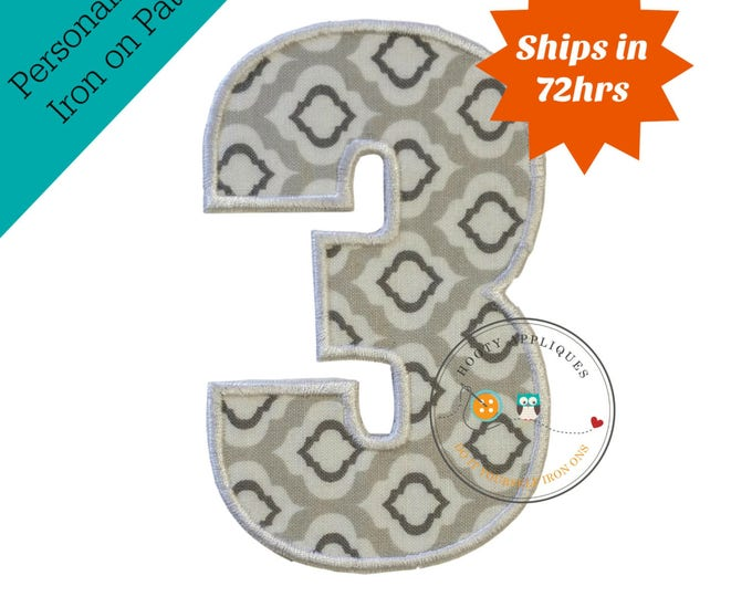 Large gray and white number 3- iron embroidered fabric applique patch embellishment- ready to ship