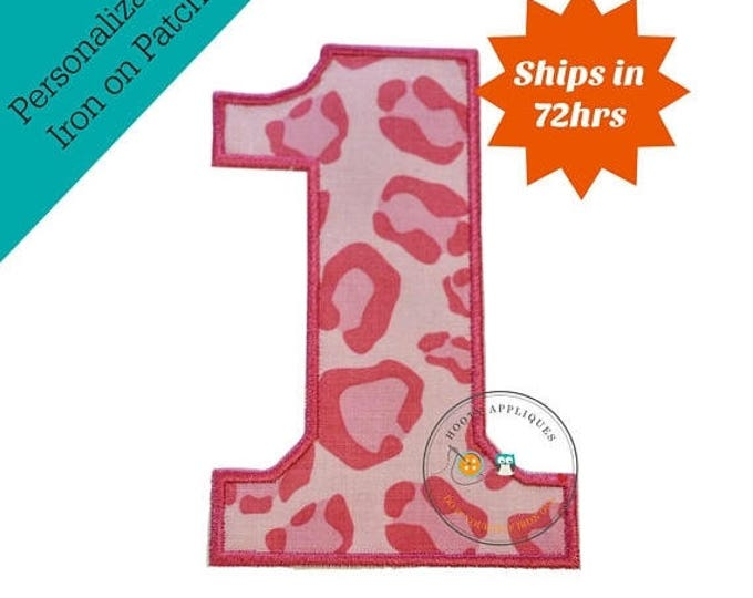 ON SALE NOW Large pink cheetah print number 1- iron embroidered fabric applique patch embellishment- ready to ship