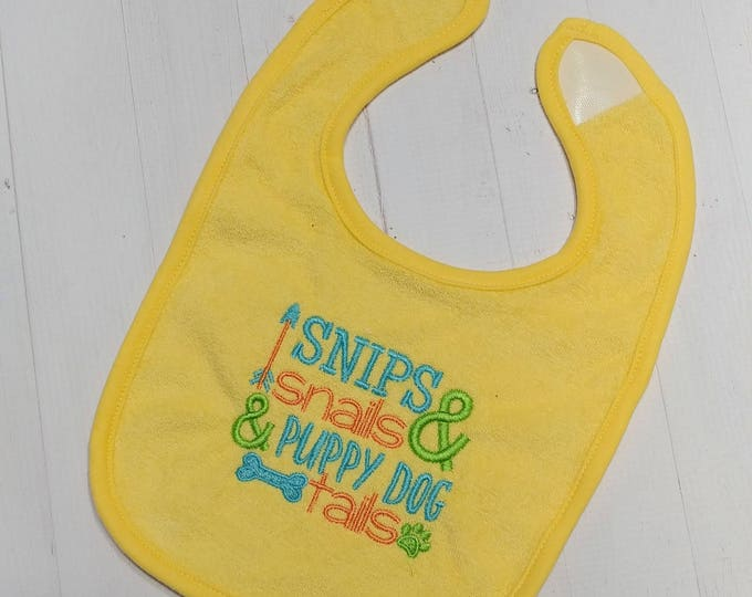 Snips and snail and puppy dog tails yellow embroidered Koala Baby cloth baby bibs for 6-12 month old boys and girls