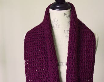 Amethyst infinity scarf, purple, crocheted scarf