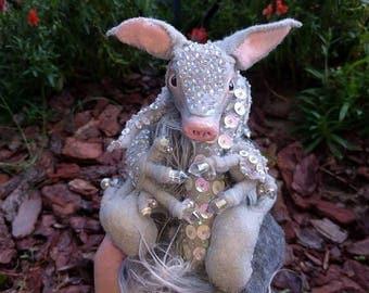 Jeweled Armadillo Posable Art Doll