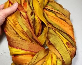 Recycled Sari Silk Ribbon 277 Multishade Yellows Jewelry Eco Gift Wrap Fair Trade Silk Ribbon Fiber Art Felt Knit Crochet Supply