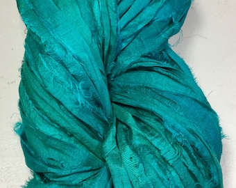 New For Fall Recycled Sari Silk Ribbon Emerald/Deep Turquoise Tassel Jewelry Sari Wrap Bracelet Eco Gift Wrap Fair Trade Fiber Art Supply