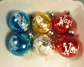 Mercury Glass Ornaments - Vintage Aqua Blue Yellow Silver Red Glitter Round