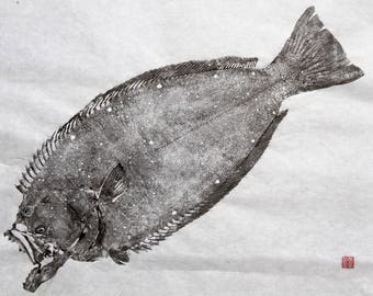 California HALIBUT - Original Gyotaku - traditional Japanese fish art (4)