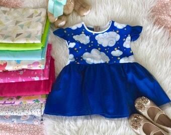 Isabella - Royal Blue Kids Peplum Tulle Top, Blue Cloud Peplum Top, Birthday Peplum Top,Frilled Sleeves Blue Top, Wholesale