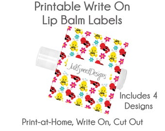 Lip Balm Labels - Baby Bug Bee Butterfly Snail Flower 4 Designs, Write On Print at Home Instant Download, Lip Balm Labels