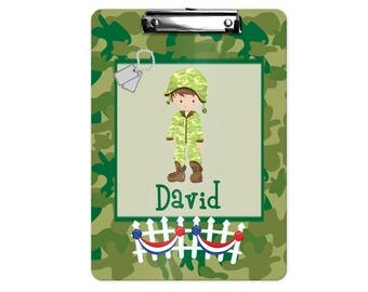 Soldier Personalized Kids Clipboard - Military Boy Girl Green Tan Camo, Single Sided or Double Sided Custom Clipboard Back to School