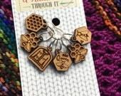 Beekeper Stitch marker set, knitter gift, snag free stitch markers, bee stitch markers, beekeper cardigan stitch markers