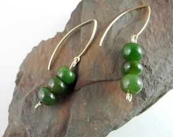 Dark Green, Jade Dangle Earrings, British Columbia Jade, Nephrite Jade, Canada Jade, Good Luck Jade, Beaded Jade Dangles, Natural Jade