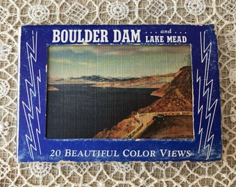Vintage Postcard with 20 Photos of Boulder Dam and Lake Mead