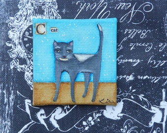 grey and whit cat  original painting magnet