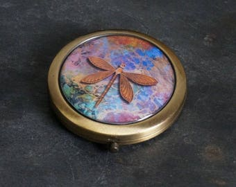 Compact Mirror Purse Mirror Pocket Mirror Handbag Mirror Makeup Mirror Dragonfly