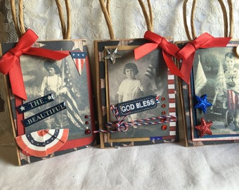 Patriotic Decoratons ~~~ Party Favors~~~ Hostess Gift~~~ July 4th ~~~ Set of 3~~~