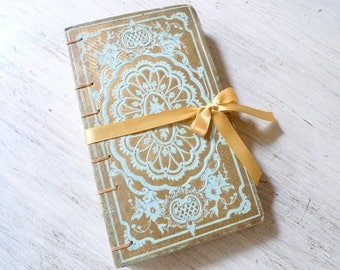 Wedding Guestbook, Boho Journal, Anniversary, Marriage Vows, Artist Sketchbook, Vintage Mint Blue & Gold Rebound Book Coptic Ready to Ship