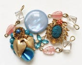destash of marie antoinnette themed repurposed light blue and pink jewelry components--mixed lot of 7 items