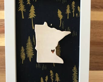 Framed Minnesota 5x7 with tree fabric