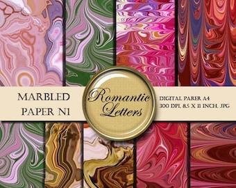 Sale 60% Marbled digital scrapbook paper pack  digital printable paper background origami paper red green vintage marbled paper