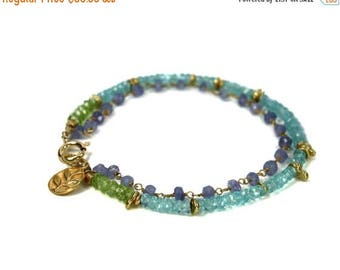 20% off. Amethyst, Apatite and Peridot Bracelet. Friendship Bracelet, Stacking Bracelet. Gemstone Birthstone Jewelry.