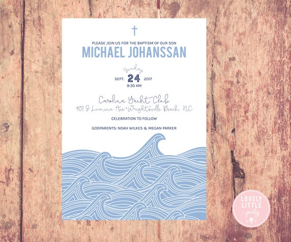 Waves boy baptism, boy first communion Invitation, Nautical Baptism, Nautical First Communion Invitation - Lovely Little Party