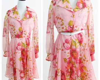 SUMMER SALE Vintage 1970's Pink Floral Party Dress  - Long Sleeve Chiffon COCO California Dress - Full skirt Cherry Blossom Dance dress - Si