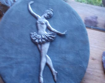 vintage 40's Ballerina in metal on velvet..oval shape..beautiful  condition much detail!
