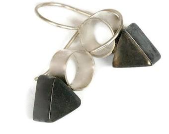 Oxidized Silver Geometric Drop Earrings, Triangle Drops, Arrow Earrings, Small Silver Earrings, Artisan Handmade by Sheri Beryl