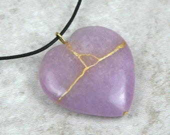 Kintsugi (kintsukuroi) purple jade stone heart pendant with gold repair on black cotton cord - OOAK