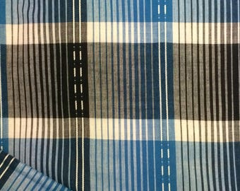 Cotton Fabric / Blue Cotton Fabric / Plaid Cotton Fabric / Vintage Fabric / Quilting Fabric / Vintage Plaid Fabric / Blue Plaid Fabric