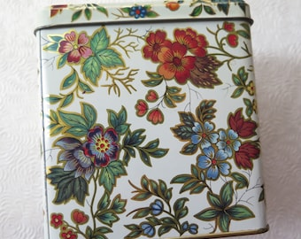 English Candy Tin Chintz Floral Vintage Tin Box Hinged Lid Made in England Christmas Candy Container Gift Box