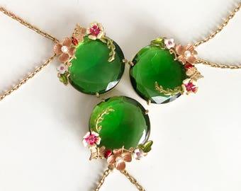 Flower Garland Matte gold Necklace, Long Flower Pendant Necklace,