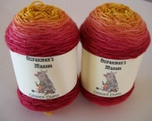 Ozisock Duets.  2 x 50gm matching skeins of gradient hand-dyed fingering weight yarn.  Perfect for socks or mittens.  Sunburnt Country