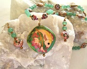 HOLDING FOR LISA Exquisite Pink Flower Necklace Gorgeous Ethnic Chinese Jewelry Handmade Cloisonne Koi Fish Pendant Green Stone Aventurine