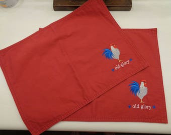 2 Red Rooster Place Mat Placemats 17 x 12.5