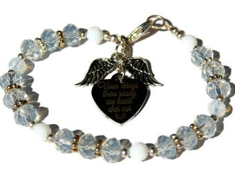 White Opal Crystal Bracelet with Your Wings Were Ready My Heart Was Not and Wings charm Beaded Bracelet In memory of Memorial