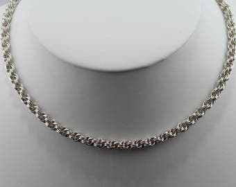 Double Spiral Rope Chainmaille Necklace in Sterling Silver, 14K Gold-Filled, or 14K Rose Gold-Filled; 16, 18, 20 or 24-Inch Lengths