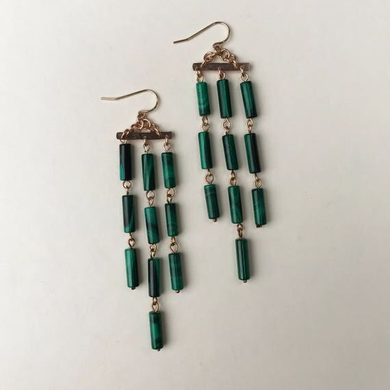 Field of Reeds Earrings with Malachite
