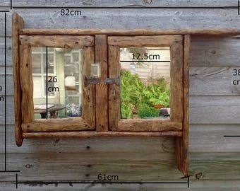 Rustic/ driftwood style bathroom cabinet with double mirror doors in recycled timber