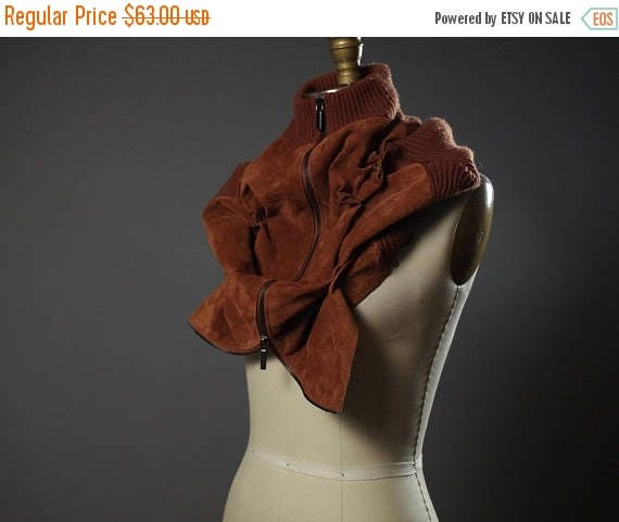 ON SALE Repurposed Leather Scarf Cowl - Chunky Neck Warmer - Zippered Suede Cowl - Unisex Leather Accessories