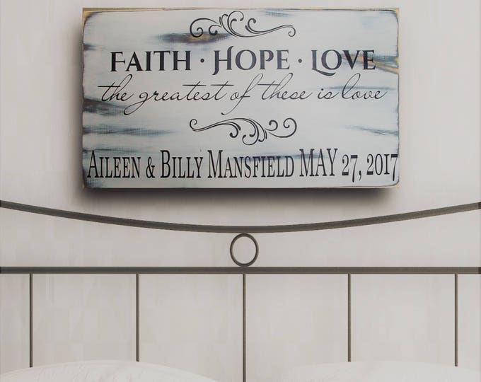 Family Name Sign, Last Name Sign, Wood Name Sign, Wedding Gift, Anniversary Gift, Wedding Sign, Corinthians Sign, Custom Gift, Faith Hope