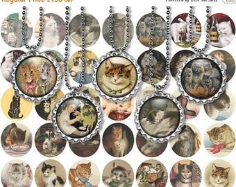 ON SALE 30% OFF Printable Vintage Victorian Cats Digital Collage Sheet - 1 Inch circles - Jpeg - Bottlecap images - Cabochon - Instant downl