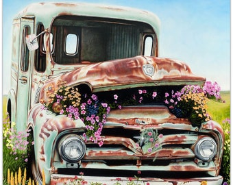 Americana Wall Art 'Got Flowers' by Todd Mandeville - Classic Cars Decor Country Rustic Automobiles on Metal or Plexiglass