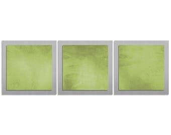 Green Metal Art 'Green Essence' -38x12 in. - Contemporary Décor - Urban Wall Artwork - Modern Metal Painting - HD Acrylic Ink Application